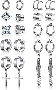 9 Pairs Non Pierced Magnetic Stud Earrings Stainless Steel Feather Dangle Earrings CZ Magnet Earring Hinged Cr
