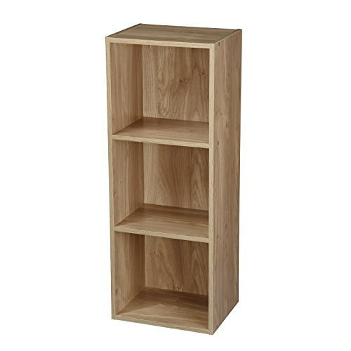 1, 2, 3, 4 Tier Wooden Bookcase Shelving Display Storage Wood Shelf Shelves Unit (3 Tier, Oak) by Top Home Solutions -