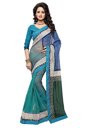 SOURBH Women's Art Silk (Super Net) Printed Saree (2362_Turquoise,Multicolor)  available at amazon for Rs.695