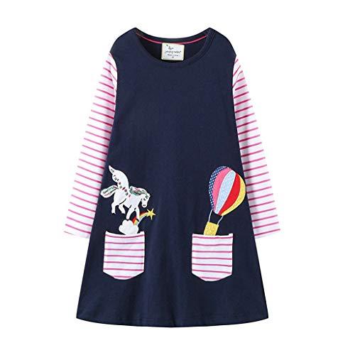 Sommer bunt Pferd drucken Kleid Mädchen gestreift Langarm Kleider Baby niedlich Mode süße Kleidung, 0-6 Jahren (5 Jahren, B - D) ()