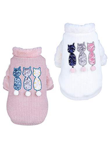 PZSSXDZW Hündchenkleidung weiblicher Teddybär Xiulunary Kejibomei Kleiner Haustierstrickjacke, der Welpenherbst- und -Winterkleidung verdickt