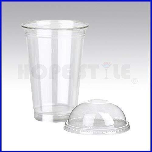 100x Trasparente Bicchieri di Plastica Smoothie Milkshake + Cupola & Piatto Coperchi Forte - 16oz + Dome Lids