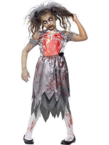Bloody Kinder Braut Kostüm - Luxuspiraten - Mädchen Kinder Kostüm Horror Geister Braut Kleid mit Schleier, Hochzeitskleid, Bloody Zombie Bride, perfekt für Halloween Karneval und Fasching, 152-164, Grau