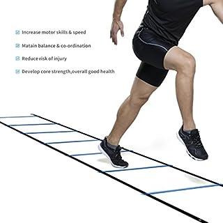 Homgrace Koordinationsleiter Trainingsleiter Fußball Fitness Geschwindigkeit Beweglichkeit Training Leiter mit Tasche, Blau, 5M 9 Rung