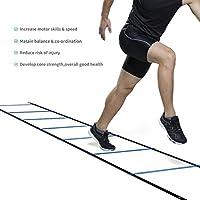 Fútbol Entrenamiento Escalera para Velocidad Agilidad Coordinación con 6 metros 12 Peldaño (Azul)