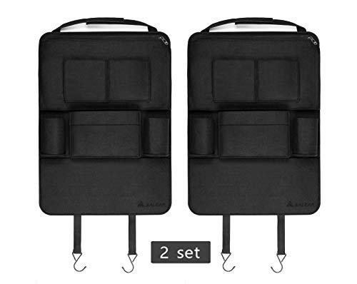 2 Stück Auto-Rückenlehnenschutz Salcar Auto Organizer Multifunktionale Stuhl Zurück Aufbewahrungstasche für Kinder Kick Matte für iPad,iPhone,DVD,Getränke - Schwarz