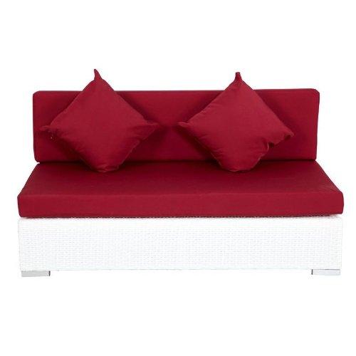 Outflexx 2-Sitzer Mittelelement, inklusive Polster, box funktion, Polyrattan, Weiß, 140 x 85 x 70 cm