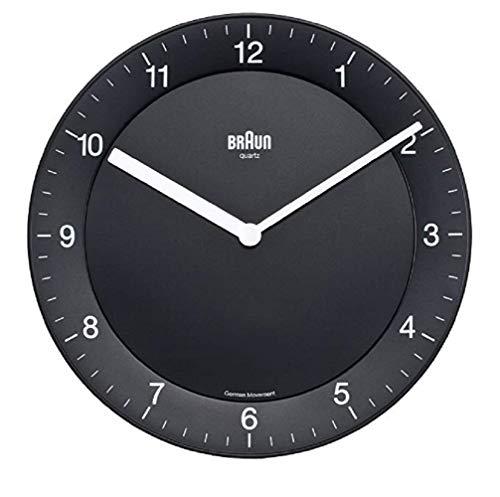 Braun BNC006BKBK Black-DCF Radio Controlled Wall Clock, Plastik, 20 x 3.4 x 20 cm