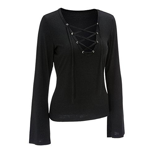 Smile YKK Long Sleeve V Ausschnitt Damen Mädchen Sweater Jumper Shirt Oberteil Tops Bluse Hemd Schwarz Schwarz