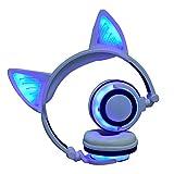 QINPIN Cat Ears insgesamt leuchtende wiederaufladbare drahtlose Bluetooth-Handy-Computer-Headset-Klappkopfhörer