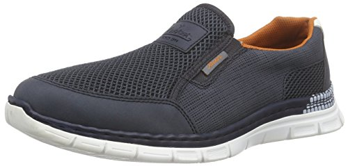 Rieker B4870 Loafers & Mocassins-men, Mocassins homme Bleu (Denim/atlantis/weiss)