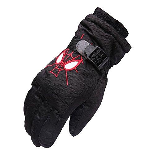 Eastlion Kinder Ski Handschuhe Winter Outdoor Jungen und Mädchen Fünf Finger Warme Wasserdichte Verdickung Student Spielen Schnee Handschuhe,Schwarz,M