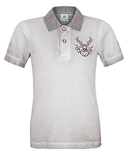 Isar-Trachten Kinder Poloshirt Kilian im Used Look - Grau Gr. 92