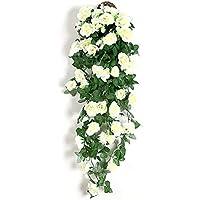 Maceta para colgar en la pared Ivy artificial simulación flor color de rosa colgando guirnalda flor de la vid decoración de la oficina decoración del hogar decoración del partido decoración de la bod
