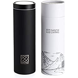 Santai Living Mug Isotherme Café & Thé 450 ML | Tasse Isotherme de Voyage 360° Couvercle 1-Cliquez sur Ouvrir Double paroi en Acier Inoxydable, isolée sous Vide, avec la boîte-Cadeau