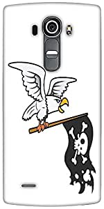 Snoogg Eagle Holding Pirate Flag Vector Cartoon Illustration Designer Protective Back Case Cover For LG G4