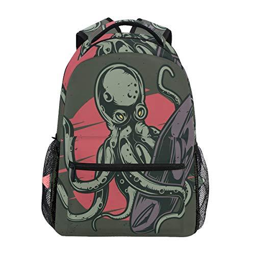 Sac à Dos Scolaire Octopus et Planche de Surf pour Sac de Voyage pour Enfant, garçon et Fille