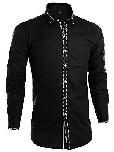 JEETOO Herren Slim Fit Langarm Hemd mit Stickerei Hochzeit Businesshemd Super Modern Lässig Hemd Bügelleicht Schwarz
