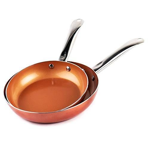 Les originaux Vital Copper! Ensemble de 2 casseroles avec revêtement de cuivre ultra résistant 100% sans PFOA et PTFE Peut également être utilisé au four sur une plaque de cuisson à gaz et à induction