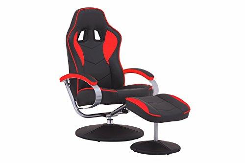 Cavadore Racer TV-Sessel mit Hocker, Kunstleder, Schwarz/rot, 82x69x108 cm