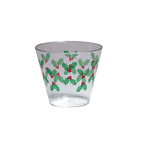 Party Essentials 20Zählen Hartschale Kunststoff Bedruckt Weihnachten Party Becher/Tumbler, 9oz, Holly Berry Holly Berry Designs