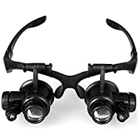 Basage 10X 15X 20X 25X Watch Repair Magnifier Outdoor Activities Survival Tool Adjust Lens Magnifying Glasses 2 Led Lights Eye Loupes