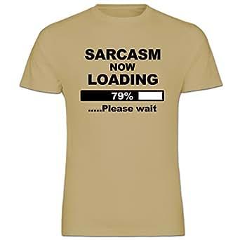 Sarcasm Now Loading Funny Joke Sand Mens Cotton Short Sleeve T-Shirt Size L