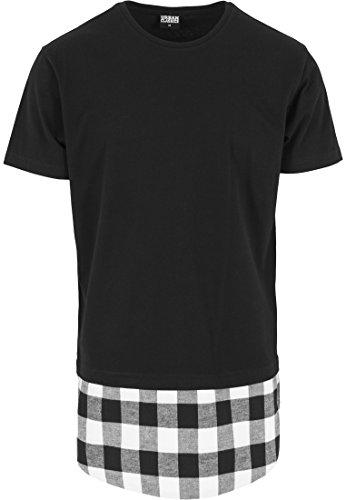 Urban Classics - T-Shirt Shaped Flanell Bottom Tee, Maglia a maniche lunghe Uomo, Multicolore (Schwarz/Wht), Medium (Taglia Produttore: Medium)