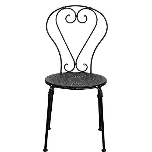 Butlers PALAZZO Stuhl - Balkon-Stuhl - Garten-Stuhl - italienischer Retro-Stil - rund - Eisen - 43 x 50 x 88 cm | Garten > Balkon > Balkonstühle | Matt - Cappuccino - Espresso - Schwarz | Butlers