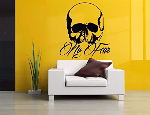 dtattoo Schlafzimmer Halloween-Schädel-Zitat keine Furcht-Schädel-Wandkunst-Grafik für Schlafzimmerwohnzimmer ()