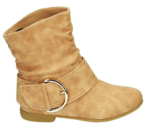 Damen Stiefeletten Cowboy Western Stiefel Boots Flache Schlupfstiefel Schuhe 91 (36, Pink)