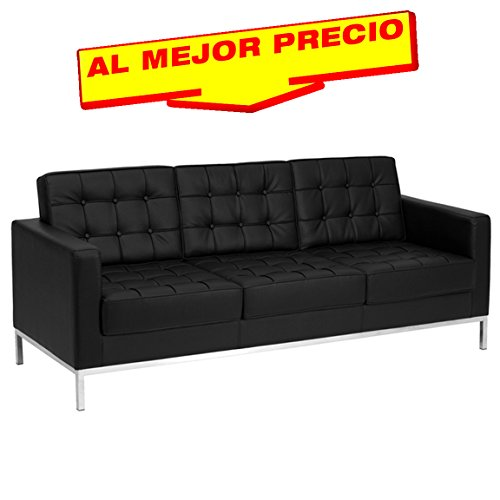 SOFA 3 PLAZAS SIMILPIEL MODELO BOLTON BASE ACERO INOXIDABLE  SIMILPIEL NEGRA- ESPECIAL SOFA 3 PLAZAS-¡AL MEJOR PRECIO!
