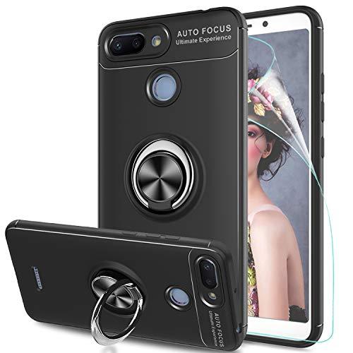 LeYi Hülle Xiaomi Redmi 6 Handyhülle mit HD Folie Schutzfolie,Cover Bumper 360 Grad Ring Stand Magnetische Autohalterung Schutzhülle für Case Xiaomi Redmi 6 Handy Hüllen JSZH Schwarz