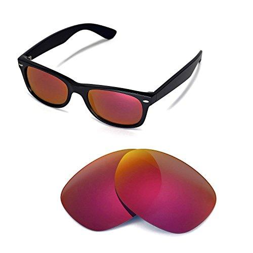 Walleva Ersatzgläser für Ray-Ban Wayfarer RB2132 52mm Sonnenbrille - Mehrfache Optionen (Feuer Red Mirror Coated - Polarisiert)