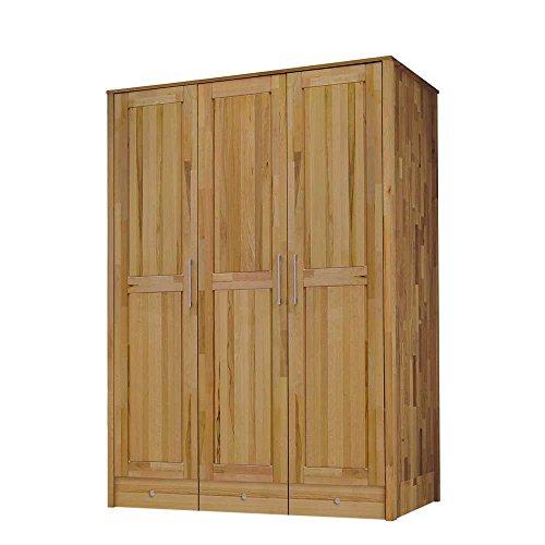 Pharao24 Kleiderschrank 3-türig aus Massivholz 160 cm breit