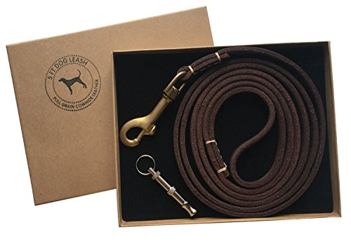 enchante-pets-luxury-leather-dog-lead-heavy-duty-dog-training-leash-walking-lead-brown-with-gift-box