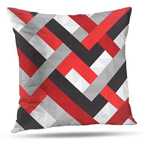 Pakaku Fundas de almohada para sofá o cama de 40,64 x 40,64 cm, funda de cojín de color rojo gris...