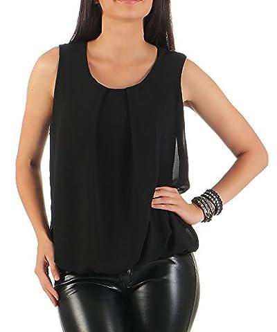 malito elegante leichte Bluse ärmellos Sommer 6879 Damen One Size schwarz
