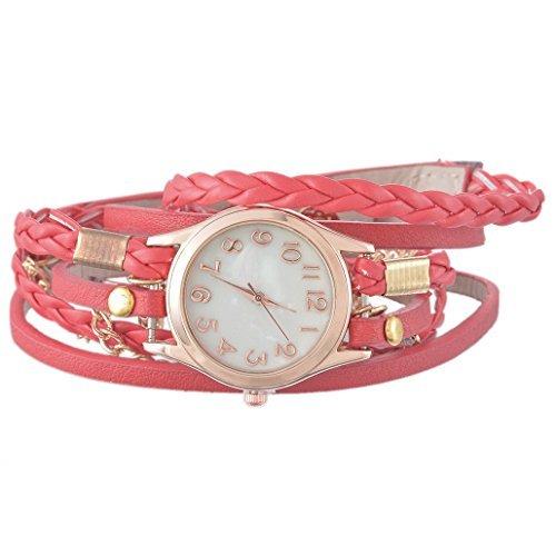 Souarts Damen Geflochten Armbanduhr Jugendliche Maedchen Armreif Uhr mit Batterie Zifferblatt Braun 57.5cm