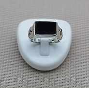 Anello rettangolare in onice argento. Gioielli minimalisti per uomo. Piccolo regalo per lui