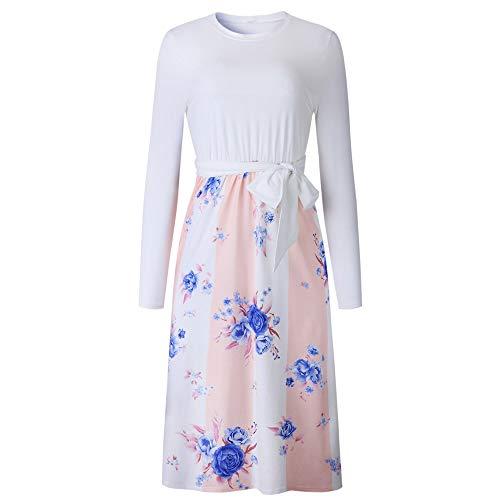 FIRSS Frauen Blumen Strandkleid | Taillenband Minikleid | Patchwork Blusekleid | Rollkragen...