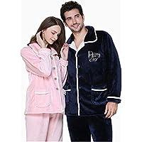 HUIFANG Pijamas Otoño E Invierno Abrigo De Franela Pijamas Para Hombres Y Mujeres Pijamas Para Parejas