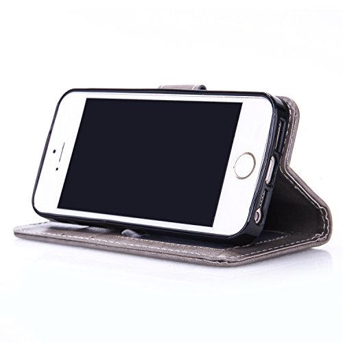 iPhone Case Cover IPhone 5S SE Fall mit Lanyard Strap Card Bargeld Schlitze Premium PU-lederner Fall-Mappen-Kasten geprägter Schmetterlings-Fall für IPhone 5S 5 SE ( Color : Red , Size : IPhone 5S SE  Gray