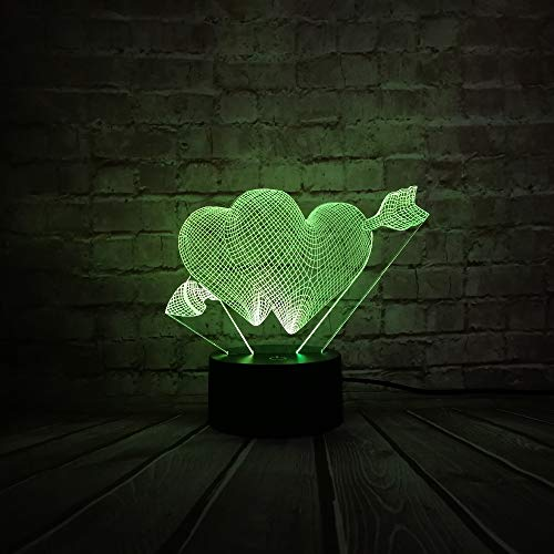 Surprise Sweet For Valentine's Day Love Arrow 3D Table Night  Touch Mixed 7 Color Change Living Room Decorative Lamp