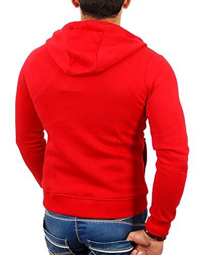 e1ebba246564 Reslad Herren Kapuzenpullover Sweatjacke Jacke Chicago RS1002 Rot