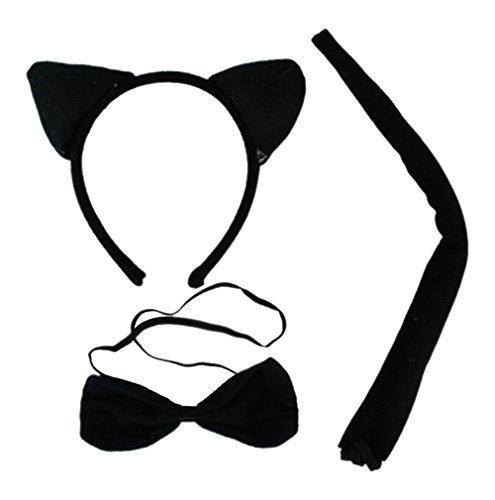Kind Katze Kostüm Tanz - DAYAN Nette Halloween-Kostüm Kids Festival Show-Tanz-Plüschtiere Fluffy Katze-Ohr-Haar-Band-Schwanz Tierkostüm Props Zubehör-Set Art schwarze Katze