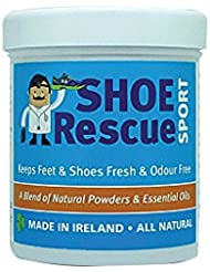 Poudre pour pieds et chaussures 100g Élimine et élimine les odeurs Développé par un podologue agréé Shoe Rescue est un remède déodorant naturel à 100% pour éliminer les chaussures et les pieds puant