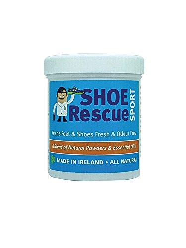 Polvos para pies y calzado 100g – Elimina el olor de pies – Desarrollado por un podólogo colegiado Shoe Rescue es un remedio 100% natural que elimina malos olores de pies y calzado – Contiene aceites esenciales Árbol de Té Eucalipto y Menta – Ayuda a combatir el pie de atleta y a mantener los pies frescos