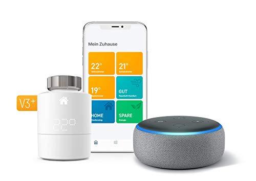 Angebot: Tado Smartes Heizkörper-Thermostat Starter Kit V3+ (Intelligente Heizungssteuerung, kompatibel mit Amazon Alexa, IFTTT) + Echo Dot (3. Gen.) Intelligenter Lautsprecher mit Alexa, Hellgrau Stoff für nur 131,90 € statt bisher 189,98 € auf Amazon