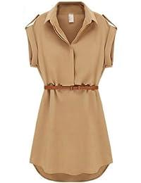 Dayiss®Fashion Damen Freizeit Sommerkleid Chiffonkleid Blusekragen kurzarm Minikleid Kurz mit Gürtel